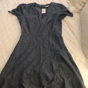 J.crew Chambray Faux Wrap Dress w/ties, Size 4